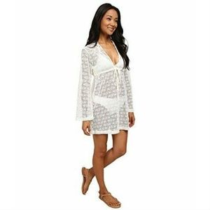 Lucy Love  White Knit Crochet Swimsuit Cover Up